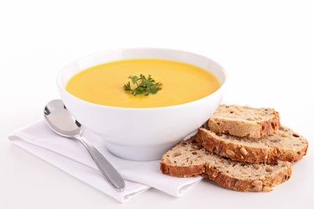 bowl of soup and bread Stock Photo