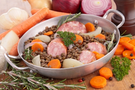 legume: casserole with legume, vegetables and meat Stock Photo