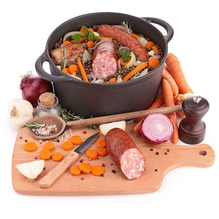 legume: legume,meat and vegetables Stock Photo