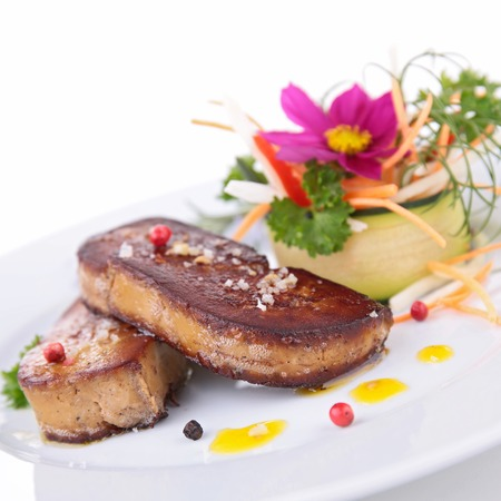 foie gras: grilled foie gras with vegetables and flowers
