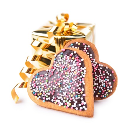 gift with heart shape biscuit photo