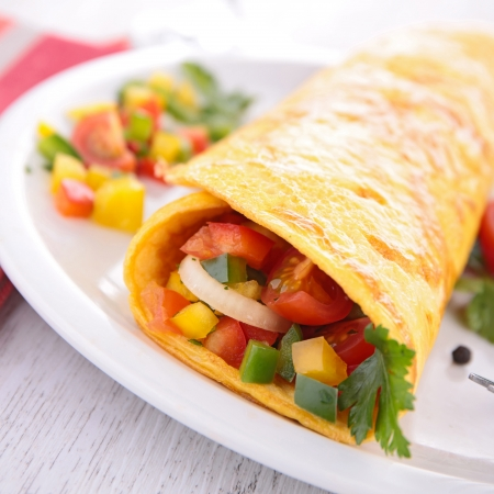 omelette rolled with vegetables photo