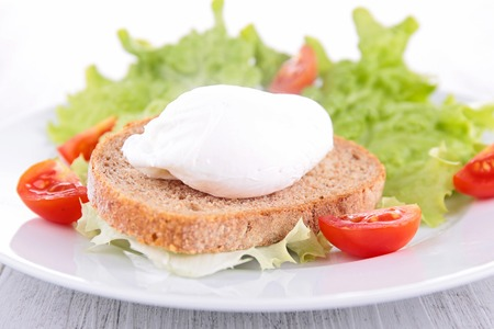 poached: poached egg on bread