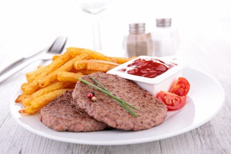 beefsteak: beefsteak and french fries Stock Photo