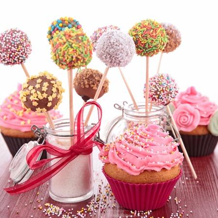 birthday cupcakes: cake pop and cupcake Stock Photo
