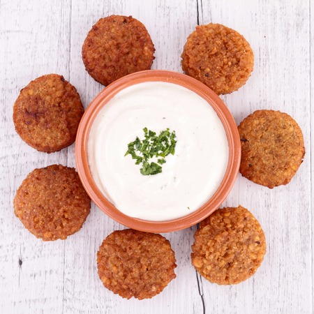 falafel on wooden table  photo