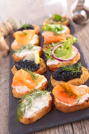 food buffet: canape, buffet food Stock Photo