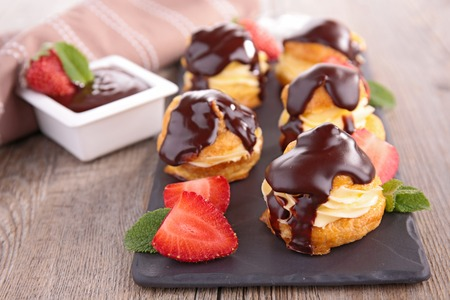choux: choux pastry with cream and chocolate