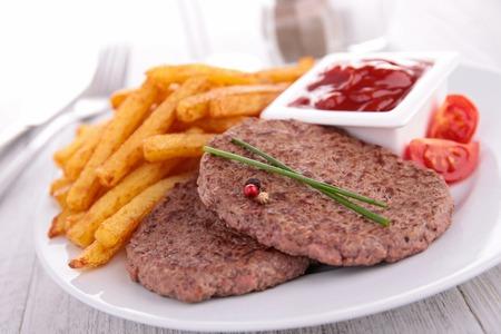 beefsteak: beefsteak and fries Stock Photo