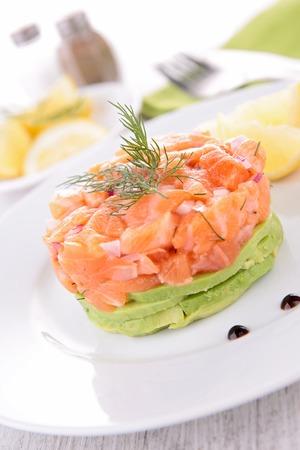 salmon and avocado Stock Photo