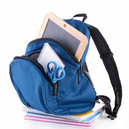 backpack with school supplies photo