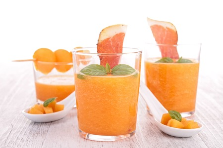 speck: cantaloupe,basil and speck Stock Photo