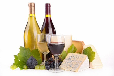 red and white wine: wine and cheese Stock Photo