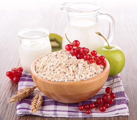 dairy products: cereals with fruit and milk Stock Photo