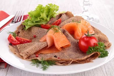 crepe with salmon and cheese