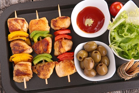 eating meat: grilled meat with vegetables Stock Photo