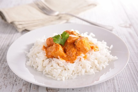 basmati: curry chicken and basmati rice Stock Photo