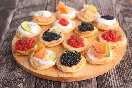 canapes: canapes on wooden table