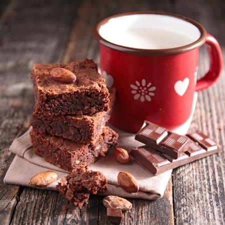 brownie: brownie and milk