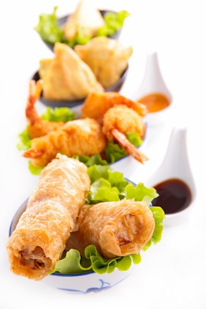 samosa: asian cuisine, spring roll, samosa and fritter shrimp Stock Photo