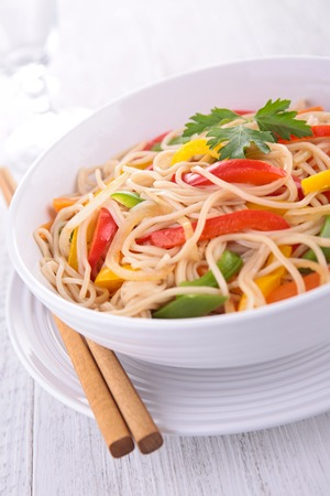 chinese noodles: fried chinese noodles Stock Photo
