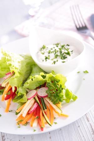 heathy diet: vegetable salad and sauce Stock Photo