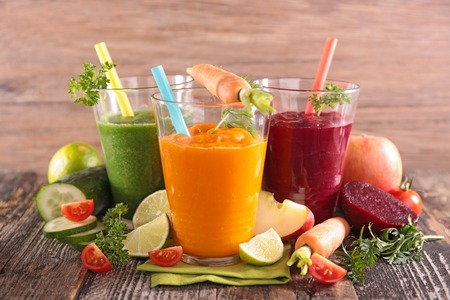 mixed vegetables: health vegetable juices Stock Photo