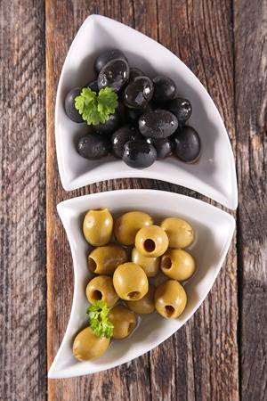 epicure: green and black olives Stock Photo
