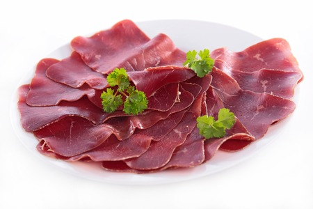 speck: plate of speck Stock Photo
