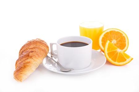 コーヒー、クロワッサン、オレンジ ジュース