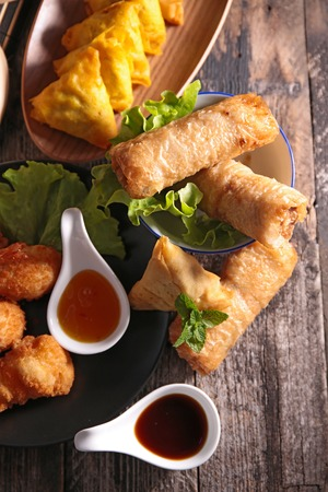 spring roll: spring roll,samosa and fried shrimp
