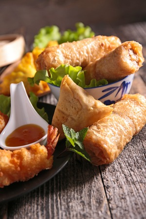 nem: spring roll,samosa and fried shrimp