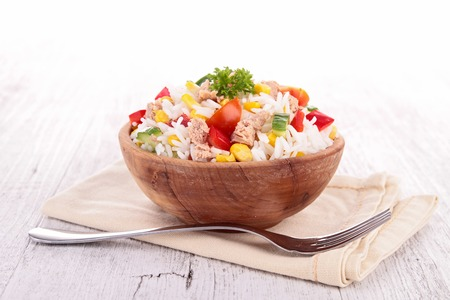 the corn salad: rice salad Stock Photo