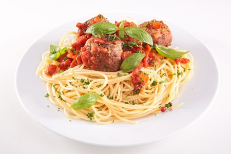 spaghetti sauce: spaghetti and meatballs Stock Photo