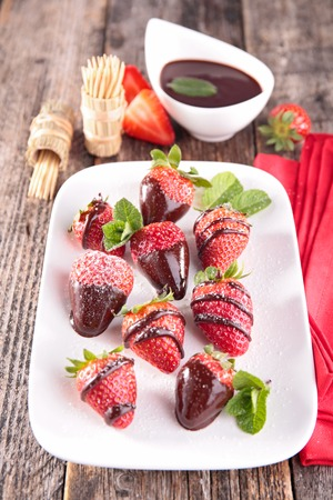 epicure: strawberry and chocolate sauce Stock Photo
