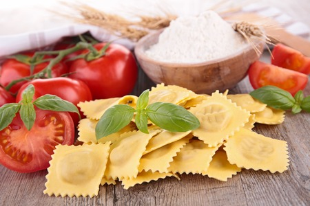 ravioli: fresh raw ravioli and ingredients