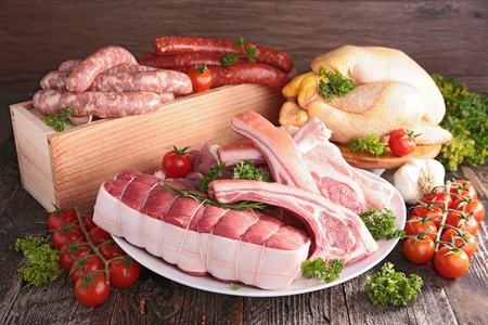assorted raw meat