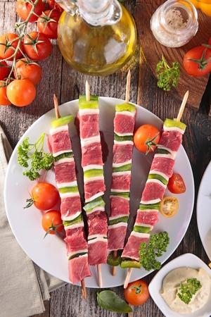 kebob: raw beef skewer