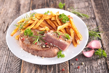 beefsteaks: beef and french fries Stock Photo