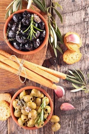 breadstick: appetizer, olive and breadstick