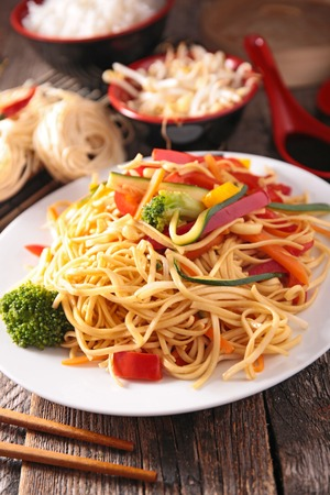 asian cuisine: asian cuisine,noodles and vegetables Stock Photo
