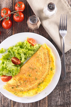 omelet: omelet and salad Stock Photo