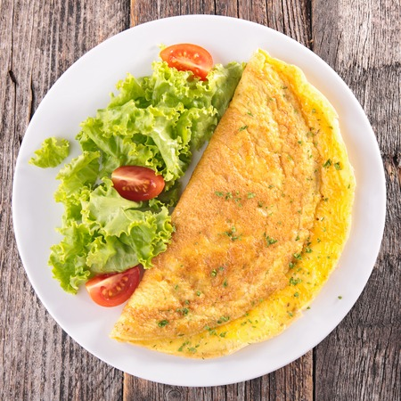 epicure: omelet and salad Stock Photo