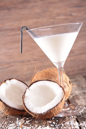 coconut fruit: coconut drink Stock Photo