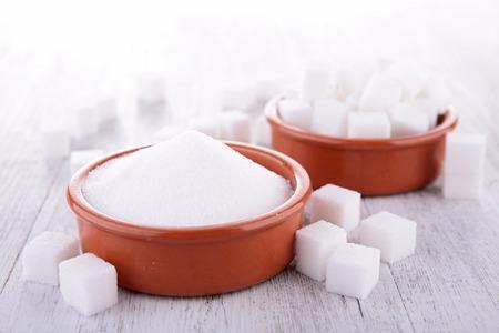 sugar powder: sugar cube and powder Stock Photo