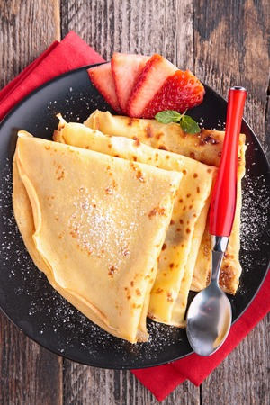 epicure: pancakes and strawberry Stock Photo
