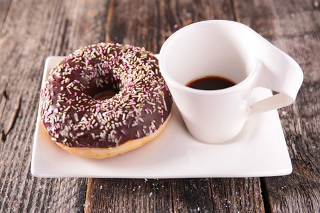 cup cakes: donut and coffee cup Stock Photo