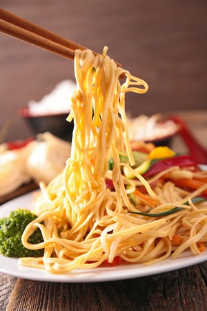 asian food, fried noodles and vegetable