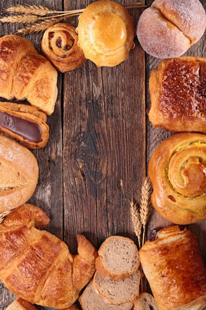 croissant: assortment of croissant, bread and pastries