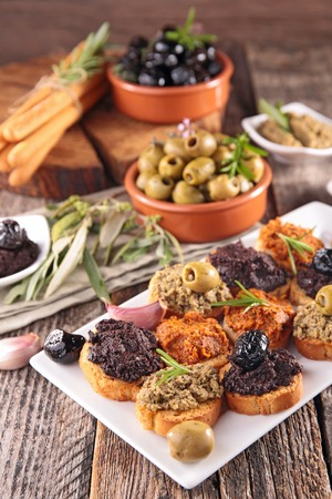 olive: canape with tapenade and olive Stock Photo